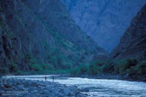 The Çoruh river canyon deep in shadow.